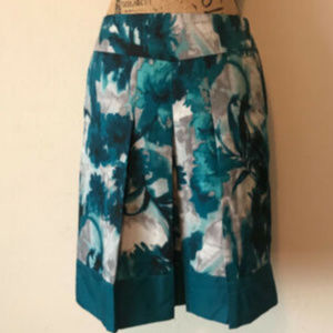 ANN TAYLOR WATERCOLOR SILKY PLEATED SHIFT SKIRT